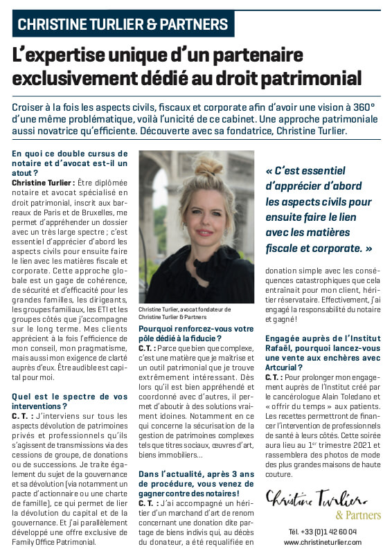 Christine Turlier, interview Le Figaro 2020